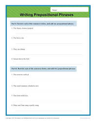 writing prepositional phrases sentence worksheets