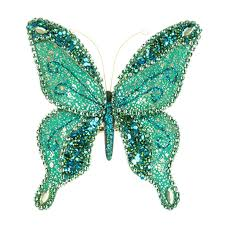 sequin butterfly on clip turquoise 15cm christmas tree