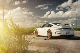 stanced porsche gt3 white porsche 911 gt3 rocking gold adv 1 wheels car pictures