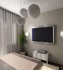 tv dans chambre iinterior of modern bedroom with tv 3d render stock photo picture