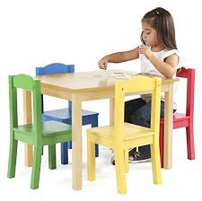 Kids Wooden Table And Chairs Set Tot Tutors Kids Wood Table And 4 Chairs Set Natural Primary