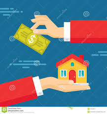 House Flat Design Human Hands With Dollar Money And House Flat Style Concept Design