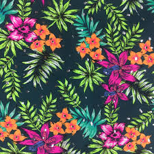 floral foil hawaiian floral printed spandex pine crest fabrics