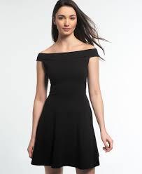 black skater dress new womens superdry bardot skater dress black ebay