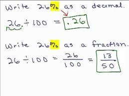 percent to decimal percents part 1 change percent to fraction or decimal