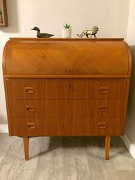 teak roll top desk egon ostergaard swedish mid century modern teak roll top desk teak