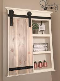 Bathroom Shelves And Cabinets Diy Sliding Barn Door Bathroom Cabinet Shanty 2 Chic