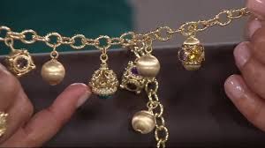 gold charm bracelet beads images Arte d 39 oro gemstone satin bead charm bracelet 18k gold on qvc jpg