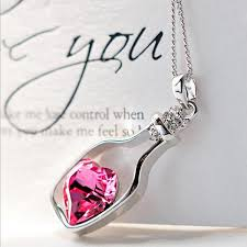 blue heart crystal necklace images Fashion love bottle heart crystal pendant necklace gifts jpeg
