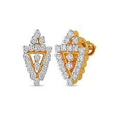 diamond earrings india triangle shape diamond earring by india in 18kt purity