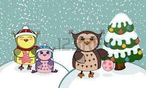 christmas card with owls vector illustration winter landscape