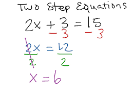 two step equations 1 math algebra simplifying expressions solving equations showme