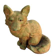 fox home decor cast stone fox garden statue weathered bronze gnfox wb the