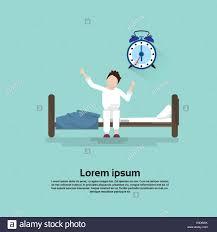 Bedroom Cartoon Morning Bedroom Cartoon Character Waking Up Stretching Stock
