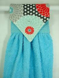 Teal Kitchen Decor by Zinnias Hanging Hand Towel Teal Coral Hanging Towel Aqua