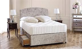 King Size Bed Base Divan Cream Crushed Velvet 6ft Super King Size Divan Bed Base Only 10