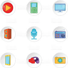 Electronic Gadget Electronic Gadget Icons Set Cartoon Style Stock Vector Art