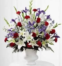 white and blue floral arrangements cherished farewell arrangement kremp