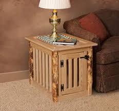 amish made log wood dog crate end table