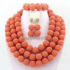 indian bead jewelry necklace images African jewelry beads necklace sets orange nigerian wedding bridal jpg