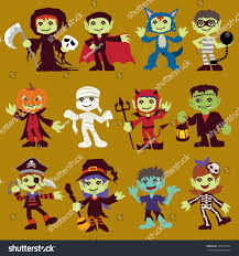 vintage halloween character poster design set stock vector