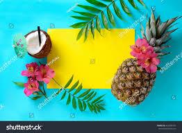 Beach Wedding Invitation Cards Tropical Fruits Background Pineapple Beach Wedding Stock Photo