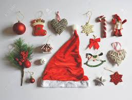 flat lay of decoration and ornaments on white background