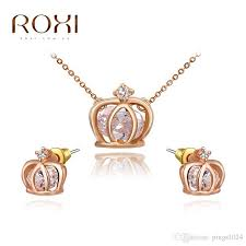 stud earrings with chain 2017 roxi charms crown stud earrings chain necklace gold
