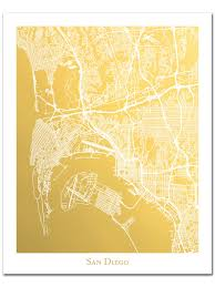 San Diego City Map by San Diego Map Gold Foil Map Of San Diego Gold Foil Print Map