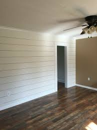 client remodel faux shiplap wall with larger 1 8