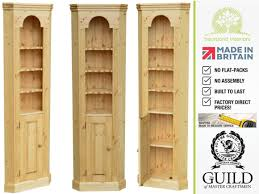traditional thin open corner shelving unit with cupboard tocc04