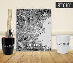 Map Room Boston by Boston Massachusetts Map With Coordinates Boston Wall Art Map