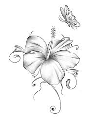 grey hibiscus flower with butterfly design by xxmoonlight