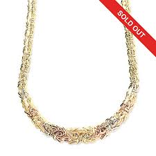 byzantine necklace images Stefano oro 14k tri color gold 18 quot graduated byzantine necklace