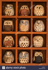 wooden display shelf of twelve miniature glazed pottery owl