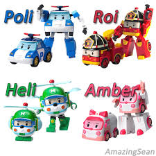 100 authentic robocar poli transformer heli roi amber robot car