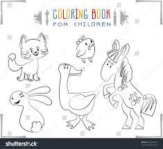 coloring book cartoon farm animals vector stock vector 328675055
