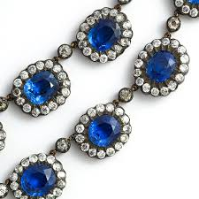 sapphire necklace price images A la vieille russie english antique sapphire and diamond cluster jpg