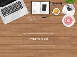 Wooden Table Background Vector Workplace Laptop And Personal Organizer On Wooden Table Top
