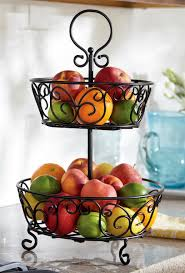fruit basket stand 2 tier wrought iron fruit basket display stand