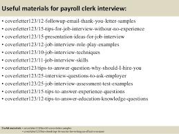 top 5 payroll clerk cover letter samples