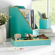 Teal Desk Accessories Printed Paper Desk Accessories Set Solid Pool With Gold Trim