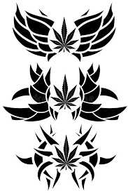 set of marijuana leaf tattoos isolated stock illustration image
