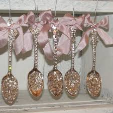 rhinestone spoon ornaments collection shabby chic