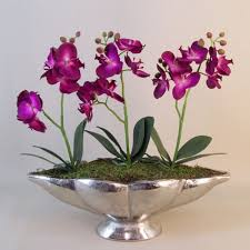 artificial orchids artificial phaleanopsis orchid plants magenta in silver shell