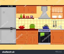 cuisine kitch kitchen room interior furniture set family เวกเตอร สต อก 520269202