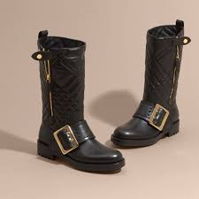 womens boots quilted buckle detail check quilted leather boots in black