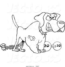 vector of a cartoon guard dog with a dumbbell outlined coloring