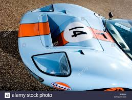 gulf car ford gt40 gt le mans racing car auto gulf engine orange blue stock