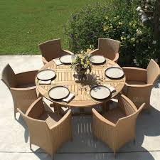 Outdoor Round Patio Table International Caravan Royal Tahiti 52 In Round Gate Leg Patio